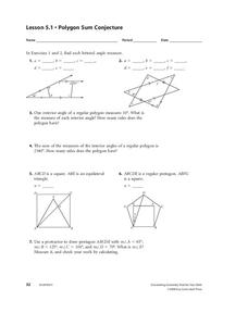 Polygon Sum Conjecture Worksheet for 10th Grade | Lesson ...