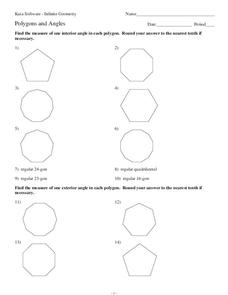 Polygons and Angles Worksheet