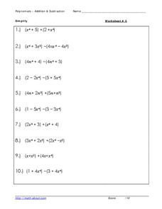 Polynomials: addition and subtraction Worksheet