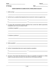 Population Ecology Worksheet