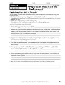Population Impact on the Environment Worksheet