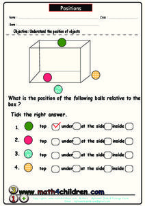Positions of Objects Worksheet