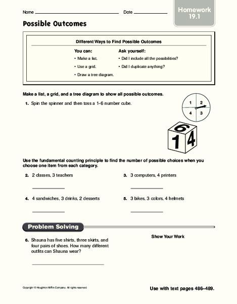 fundamental counting principle lesson plans worksheets. Black Bedroom Furniture Sets. Home Design Ideas