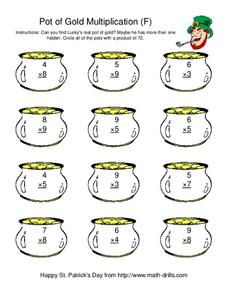 Pot Of Gold Multiplication (F) Worksheet