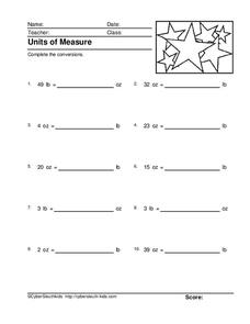 Pounds and Ounces Worksheet