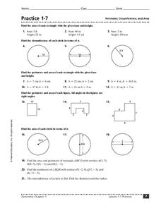 Practice 1-7: Perimeter, Circumference, and Area Worksheet