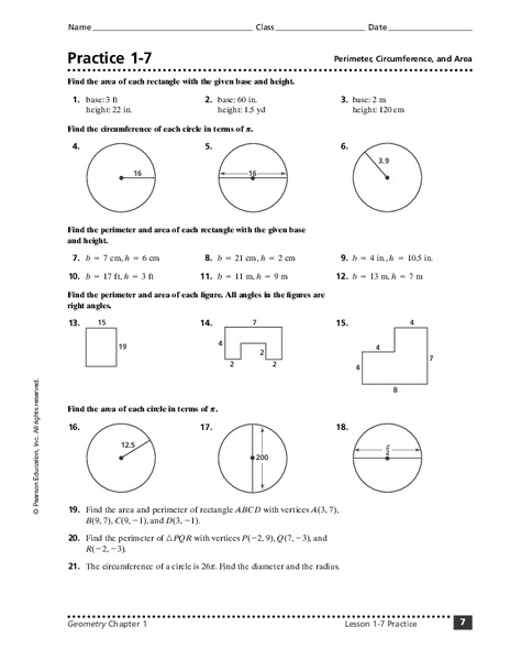 practice 1 7 perimeter circumference and area worksheet for 8th 10th grade lesson planet. Black Bedroom Furniture Sets. Home Design Ideas