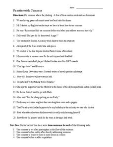 Practice With Commas Worksheet for 4th - 7th Grade | Lesson Planet