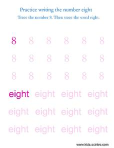 Practice Writing the Number Eight Worksheet