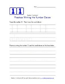Practice Writing the Number Eleven Worksheet