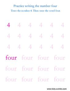 Practice Writing the Number Four Worksheet