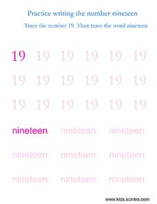 Practice Writing the Number Nineteen Worksheet