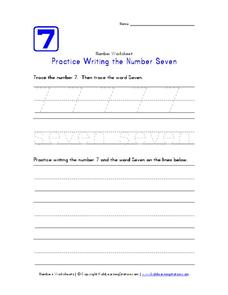 Practice Writing the Number Seven Worksheet