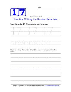 Practice Writing the Number Seventeen Worksheet
