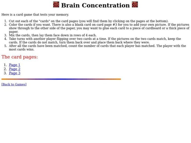 Brain Concentration Lesson Plan