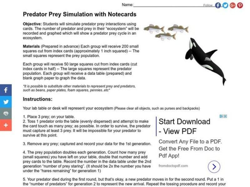 Predator Prey Simulation Lesson Plan For 9th 12th Grade