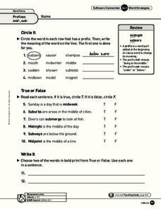 Prefixes Worksheet