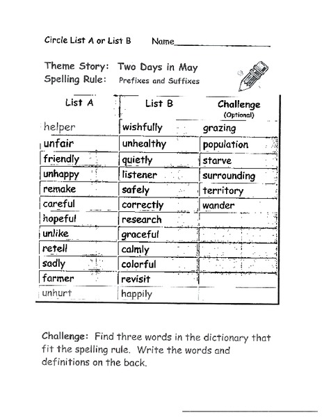 Prefixes and Suffixes Worksheet