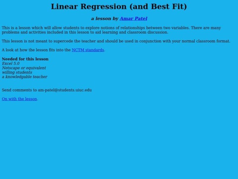Linear Regression (and Best Fit) Lesson Plan