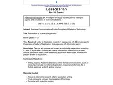 Preparation of a Letter of Application Lesson Plan