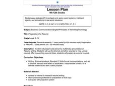 Preparation Of A Resume Lesson Plan