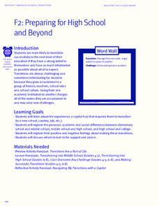 Preparing for High School and Beyond Lesson Plan