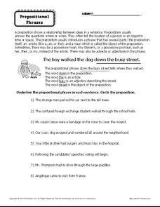 Prepositional Phrases Worksheet for 6th - 8th Grade | Lesson Planet