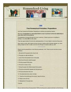 Prepositions Worksheet