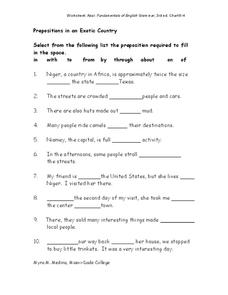 Prepositions in an Exotic Country Worksheet