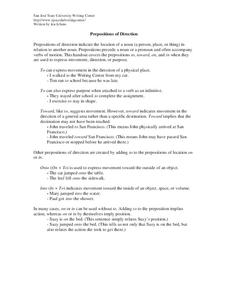 Prepositions of Direction Worksheet