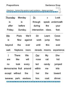 Prepositions Sentence Drop Worksheet