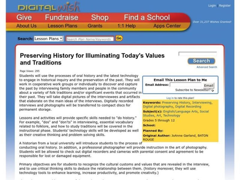 Preserving History for Illuminating Today's Values and Traditions Lesson Plan