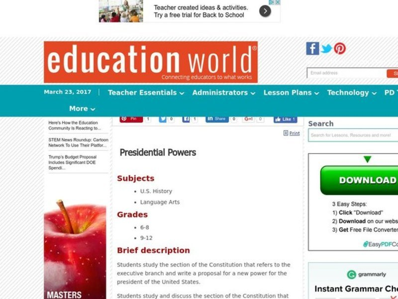 Presidential Powers Lesson Plan