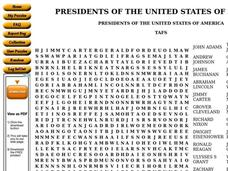 Presidents of The United States Worksheet