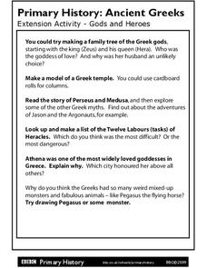 Primary History: Ancient Greeks Worksheet