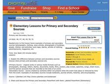Primary and Secondary Sources Lesson Plan