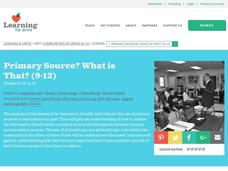 Primary Source? What is That? Lesson Plan