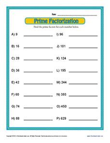 Prime Factorization Worksheet for 6th - 8th Grade | Lesson Planet