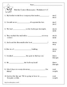 Print the Correct Homonyms Worksheet