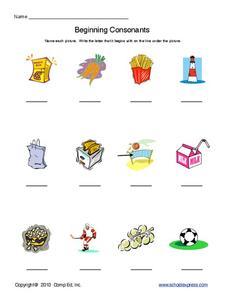 Print the Letter: Beginning Consonants Worksheet