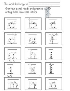 Printing Practice - Lower Case Letters Worksheet
