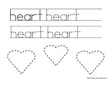 "Printing Practice: ""heart"" Worksheet"