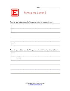 Printing the Letter E Worksheet