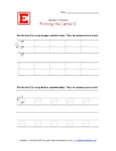 Printing the Letter Ee Worksheet