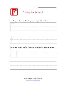 Printing the Letter F Worksheet