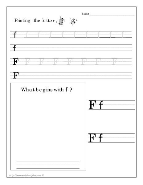Printing the Letter Ff Worksheet