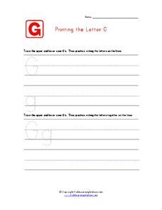 Printing the Letter G Worksheet