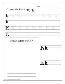 Printing the Letter Kk Worksheet