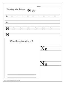 Printing the Letter Nn Worksheet