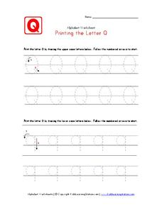 Printing the Letter Q Worksheet